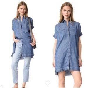 Madewell Drop Hem Chambray Shirt Dress L